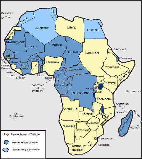 Carte De Lafrique Francophone.Afrique Francophone Carte